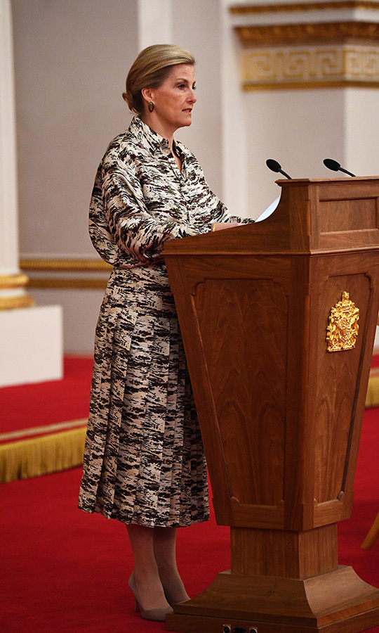 "The <strong><a href=""https://ca.hellomagazine.com/tags/0/countess-of-wessex"">Countess of Wessex</a></strong> stunned in a patterned dress and cream suede pumps for a reception at Buckingham Palace for Women Peacebuilders on March 8.