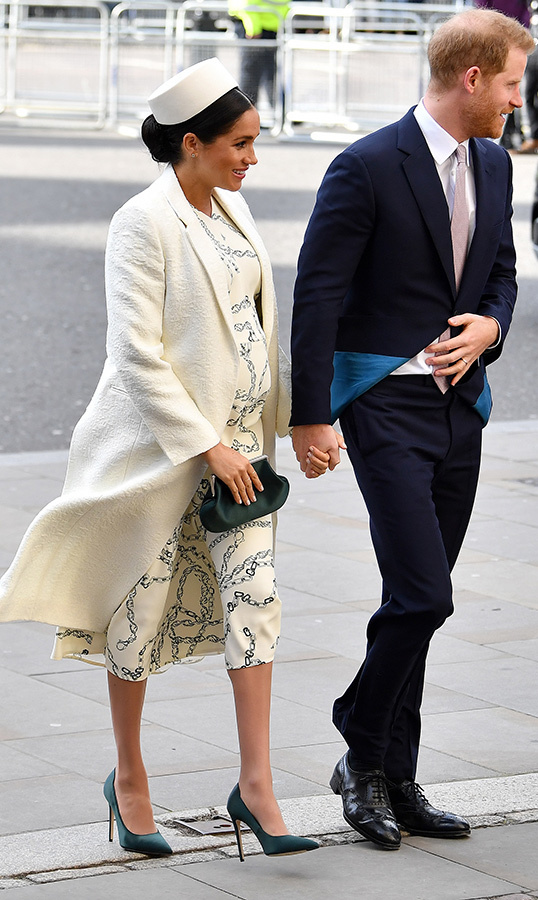 Following their visit to Canada House, Prince Harry and Meghan arrived at the Abbey for the special ceremony. Duchess Meghan wowed in an outfit by Victoria Beckham and a crisp white coat, topping her look off with a white circular hat and accessorizing with a black clutch and chic pumps. She first attended the Commonwealth Day Services in 2018.