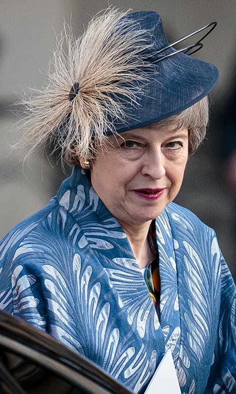 British Prime Minister Theresa May looked beautiful in blue and white for Commonwealth Day.