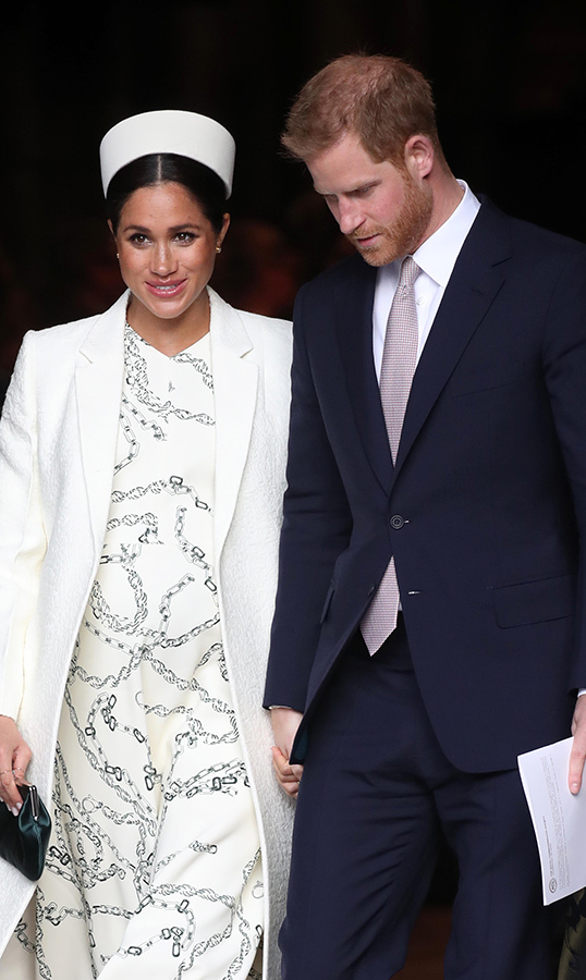The Duke and Duchess of Sussex followed William and Kate out of Westminster Abbey after the ceremony wrapped up. Meghan and Harry lovingly clasped hands.
