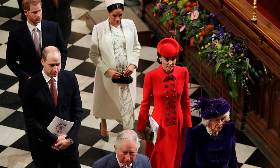 The Fab four, joined by Prince Charles and Camilla, entered Westminster Abbey for the service.