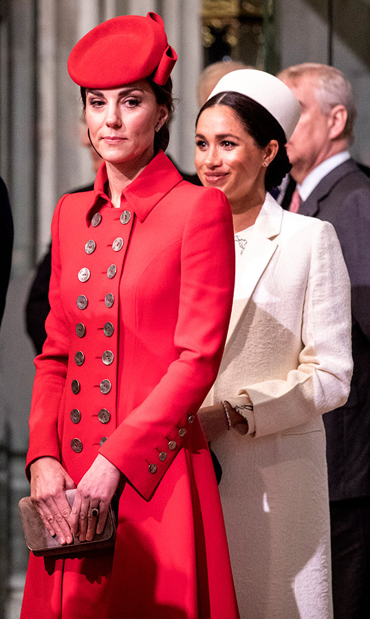 Meghan stood just behind Kate.