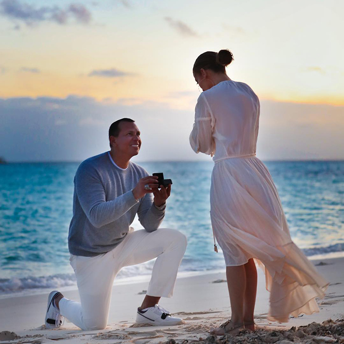 "This magic moment! The couple shared some stunning snapshots of the moment Alex got down on one knee to propose. The 43-year-old shared one photo from the set, captioning it: ""Locking it down.  #futuremrsrodriguez.""