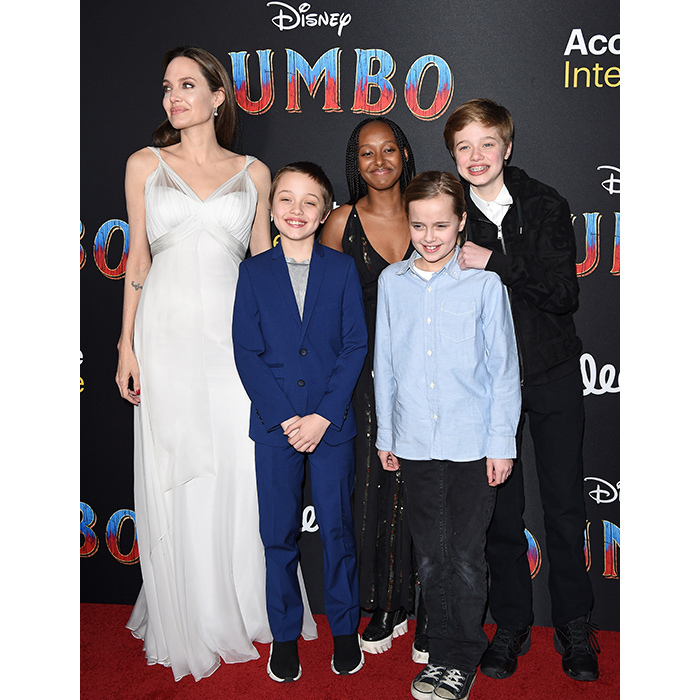 Angelina Jolie took four of her kids – Knox, Zahara, Vivienne and Shiloh – to the premiere of Disney's <em>Dumbo</em> at El Capitan Theatre on March 11.