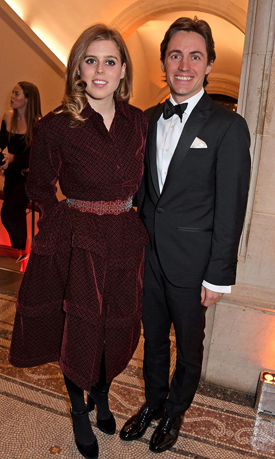 Beatrice and Edoardo posed together for a cheerful snap inside the portrait gallery.