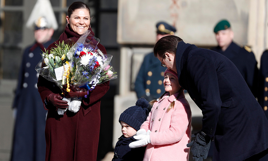 The Swedish Royal Family – Crown Princess Victoria, Prince Oscar, Princess Estelle and Prince Daniel – attended the Crown Princess' Name Day celebrations at the Stockholm Royal Palace on March 12.