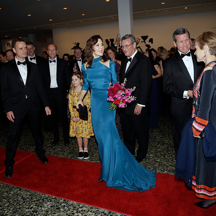 As part of her tour in Texas, Crown Princess Mary of Denmark dazzled in a long teal gown for a gala dinner at the Museum of Fine Arts in Houston on March 12.