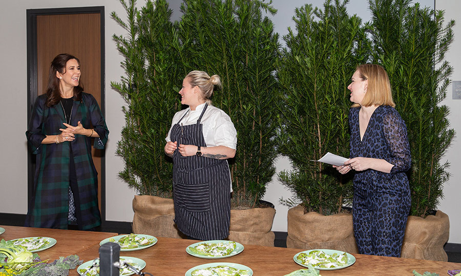 Crown Princess Mary visited The SXSW House of Scandanavia to meet with Chef Kamilla Seidler and Kathrine Simonsen, PR and Press Manager for Visit Denmark on March 11.