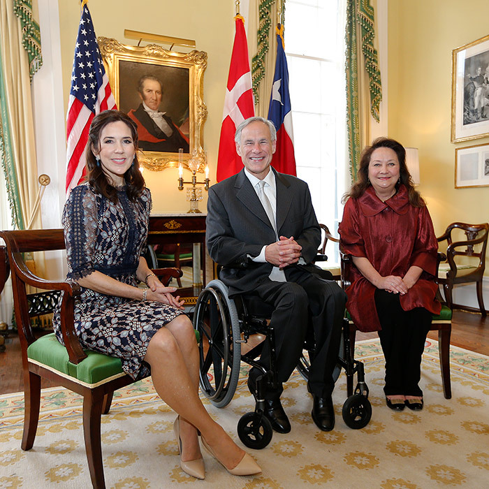 Also that day, Mary of Denmark met with the Governor of Texas, Greg Abbott and Texas First Lady, Cecilia Abbott, at the Governor's Mansion.