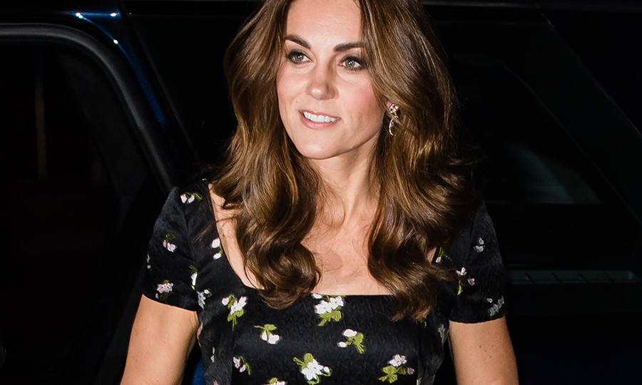 The Duchess of Cambridge rocked her trademark bouncy curls and subtle smoky eye for the glitzy evening.