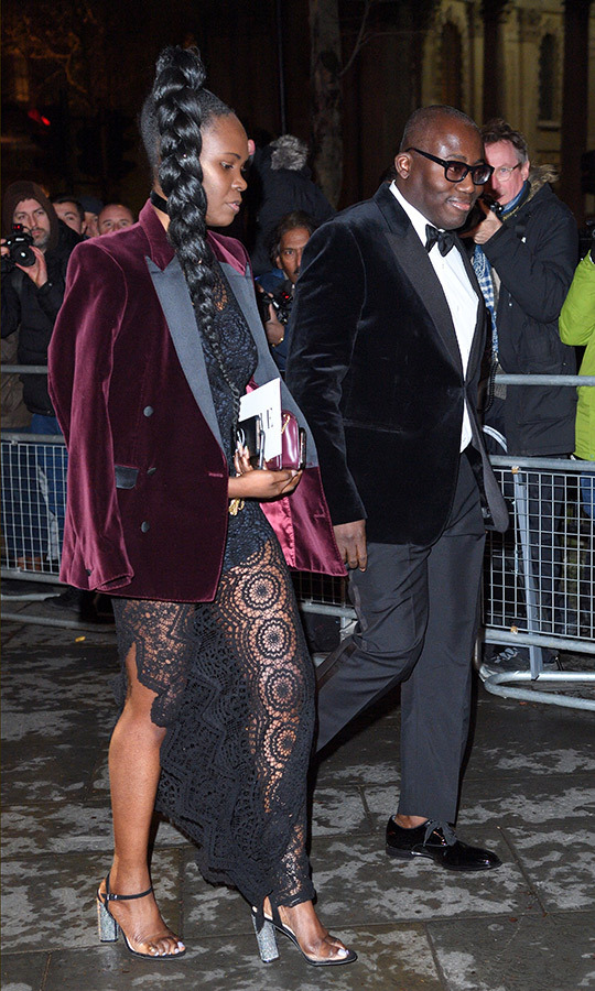 The evening's co-host British <em>Vogue</em> editor-in-chief Edward Enniful arrived with his guest.