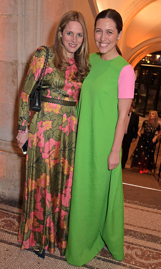 Emilia Wickstead, one of duchesses Kate and Meghan's favourite designers, stunned in a green-and-pink colour-block dress.