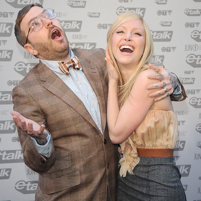 Celebration acoustic singer-songwriter Dallas Green and his wife, former MuchMusic VJ Leah Miller, showed off their silly sides on the 2009 JUNOs red carpet. The two exchanged vows the year before!