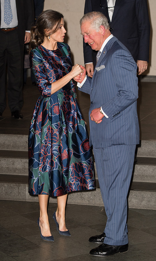 Queen Letizia of Spain and Prince Charles attended the opening of <em>Sorolla: Spanish Master of Light</em> at National Gallery on March 13. The future King greeted Letizia with a hand hold and a cheek kiss!