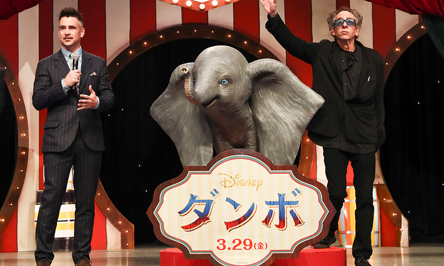 Colin Farrell and Tim Burton made a dapper appearance at the Japan premiere of Disney's <em>Dumbo</em> on March 14 n Tokyo.