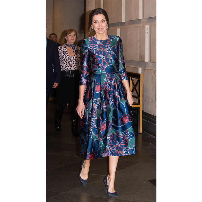 "<strong><a href=""https://ca.hellomagazine.com/tags/0/queen-letizia"">Queen Letizia</a></strong> dazzled in a colourful satin dress for a visit to the National Gallery on March 13. She anchored the look with a pair of navy blue pumps, accessorizing with large blue earrings and a chic up do.