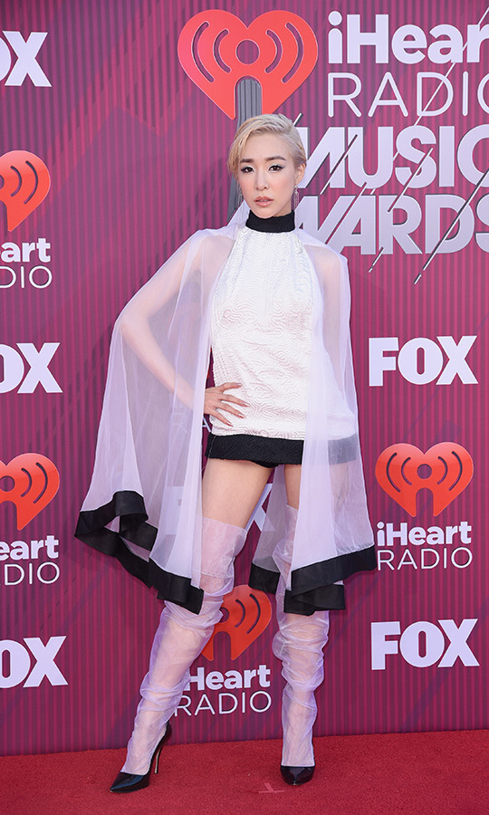 <strong>Tiffany Young</strong> chose a unique look that came complete with a cape. The <strong>Girls Generation</strong> member won the best solo breakout award.