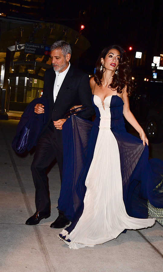 On Dec. 8, 2018, Amal stepped out with George at the 2018 United Nations Correspondents Association Awards at Cipriani 42nd Street in New York. She wore a white and navy dress. The couple were also accompanied by George's parents, Nick and Nina, at the event. 