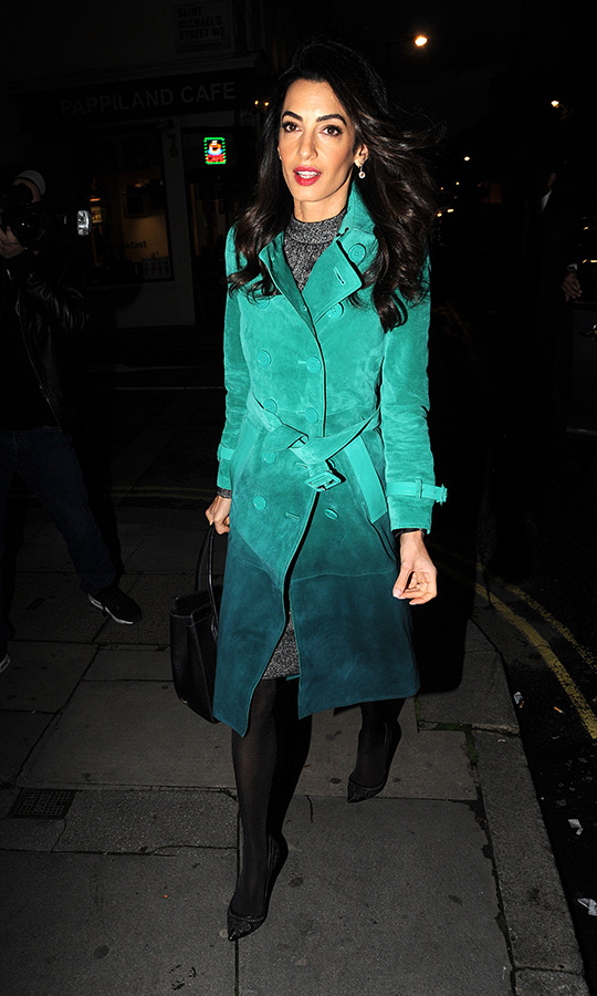 Amal was seen wearing this aquamarine coat while attending a talk with Egyptian-Canadian journalist Mohamed Fahmy in October 2015 in London. Mohamed is an award-winning journalist who has worked for CNN, the BBC and Al Jazeera in North Africa. In 2013, Mohamed was arrested in Egypt and sentenced to seven years in prison. Amal represented him while he was imprisoned. In 2015, Mohamed was pardoned by the Egyptian government and left the country for Toronto. 