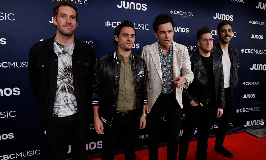 "Members of <strong>Arkells</strong> wore their ""Leather Jacket"" for the JUNOs red carpet. 