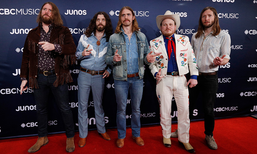 <strong>The Sheepdogs</strong> stepped out of a time machine from the '70s with their classic JUNOs red carpet looks.