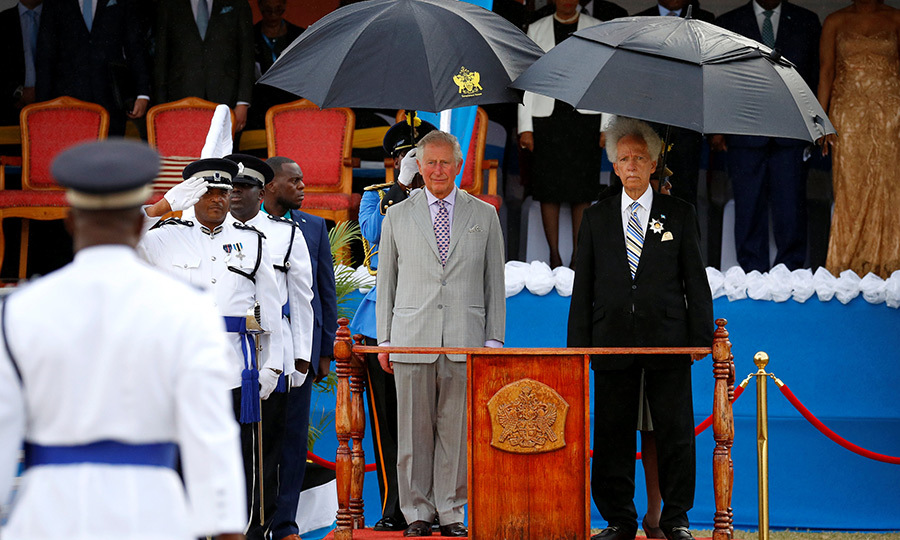Prince Charles was also greeted by <strong>Neville Cenac</strong>, Saint Lucia's governor-general, and given an official welcome ceremony and parade. It was a bit of a rainy day, but they made the best of it!