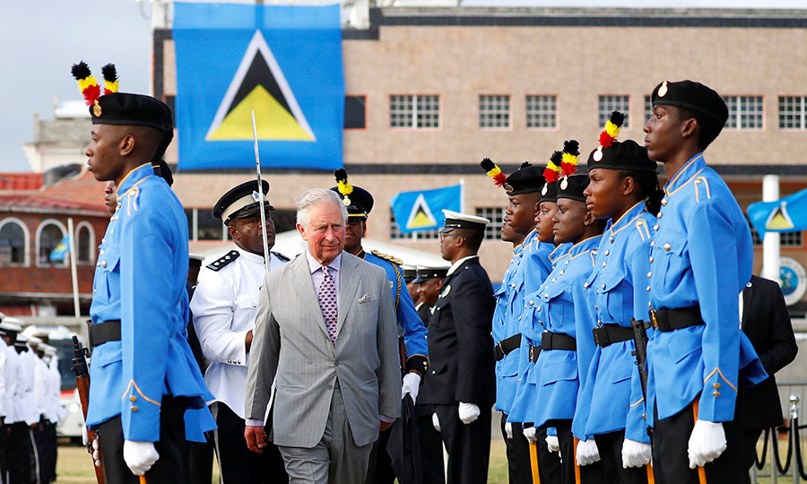 Following his welcome from Saint Lucia's governor, the prince then inspected the honour guard, as is customary on royal visits. 
