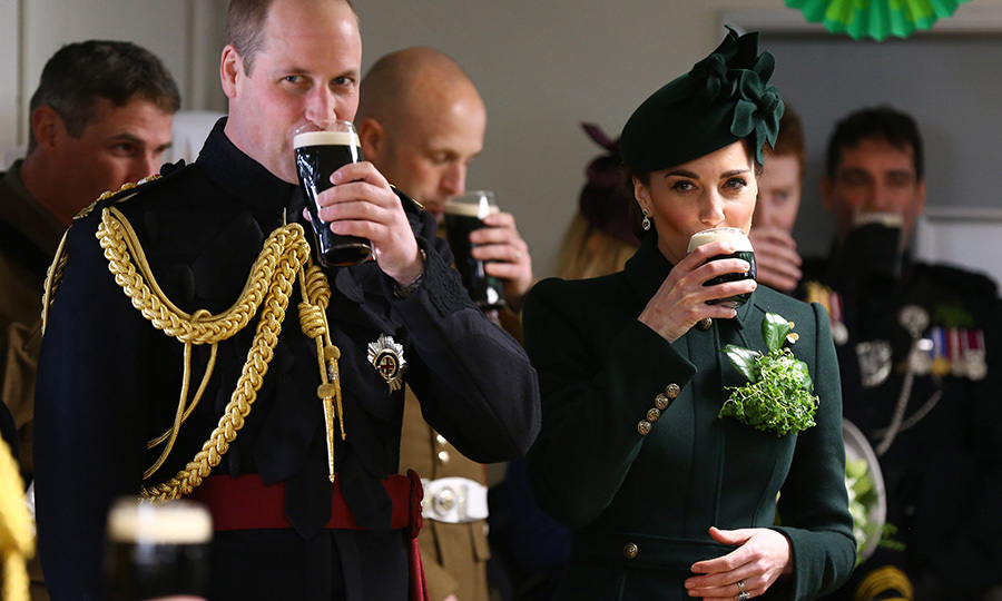 The duke and duchess also celebrated St. Patrick's Day in a very fitting way: with pints of Guinness! Sláinte! 