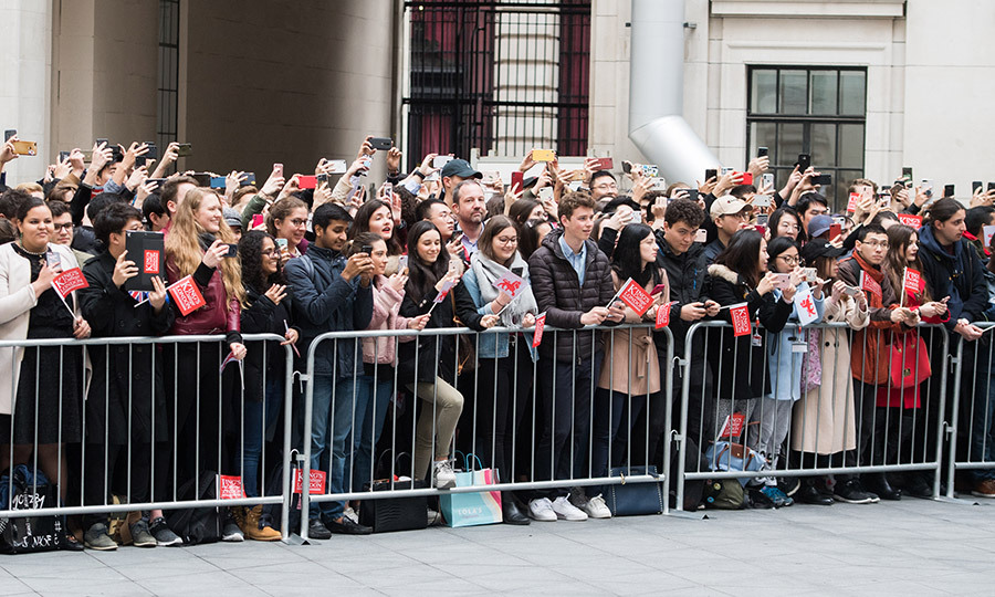 The Queen and Duchess Kate were also met by a throng of wellwishers, who cheered when they got out of the vehicle. 