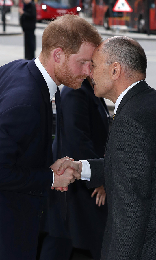 Prince Harry also took the time to greet Jerry with Hongi, which involves two people pressing their noses (and sometimes their foreheads) together.