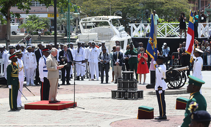 Charles made a speech at the event, which took place in Bridgetown's Hereos Square.