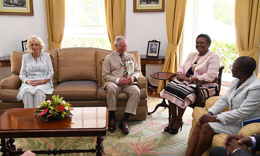 Camilla and Charles then attended a meeting with Barbados Governor-General Dame Sandra Mason.
