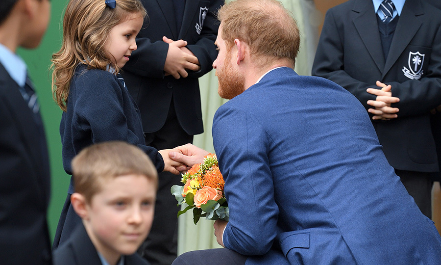 Harry was also given flowers when he was getting ready to leave the school.