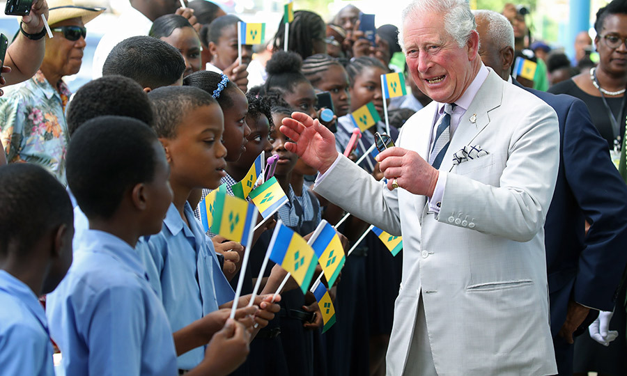 The Duke of Cornwall was met with a warm welcome, and said hello to some of those who'd gathered for the royal couple's arrival.