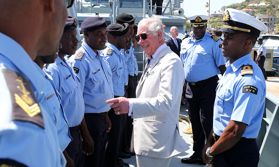 Charles then went on board a yacht to visit with marine cadets in the capital, Kingstown. 