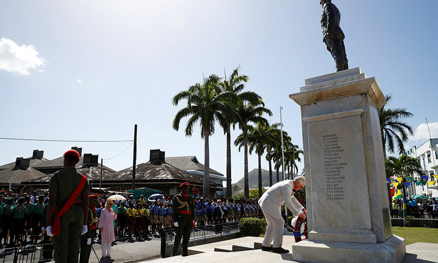 The royal couple then visited Kingstown's cenotaph, where Charles laid a wreath.