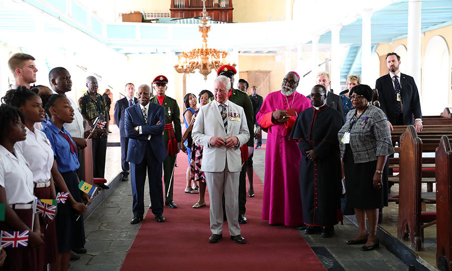 Charles also visited St. George's Cathedral in Kingstown, and met with various church officials, including two Anglican bishops.