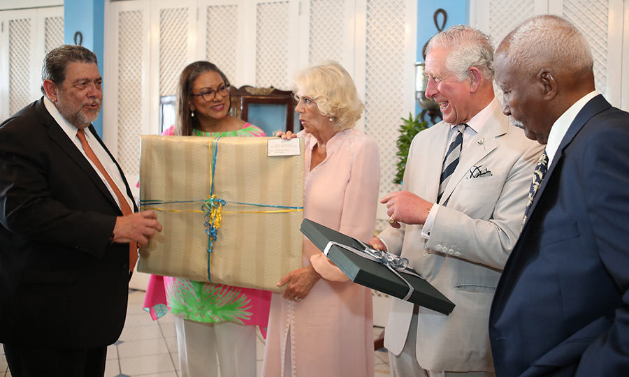 Charles and Camilla were later given a reception at the official residence of Prime Minister of St. Vincent and the Grenadines Ralph Gonsalves, who presented them with gifts. 