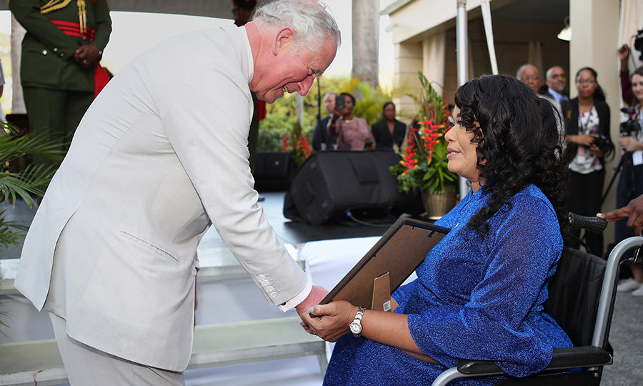 While they were there, Charles had the opportunity to award  Patricia Cumberbatch the Point of Light honour. The Point of Light awards recognize one person from each Commonwealth nation who is making a significant difference with their volunteer work.