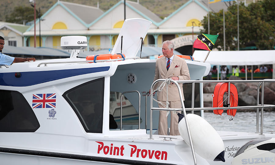 The prince also set foot on board a very amusingly-named boat, Point Proven, while in Nevis! 