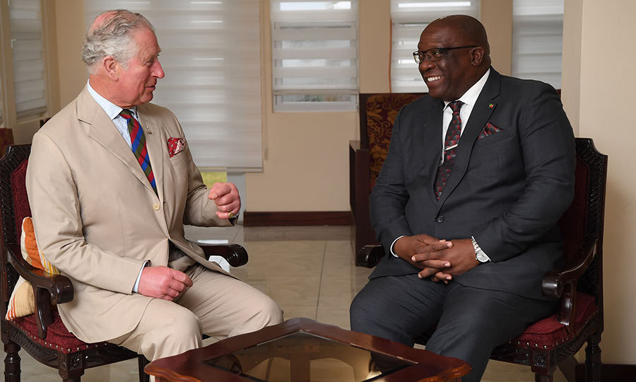 Prince Charles and Timothy Harris, St. Kitts and Nevis's prime minister, looked like they had a fabulous visit later in the day!