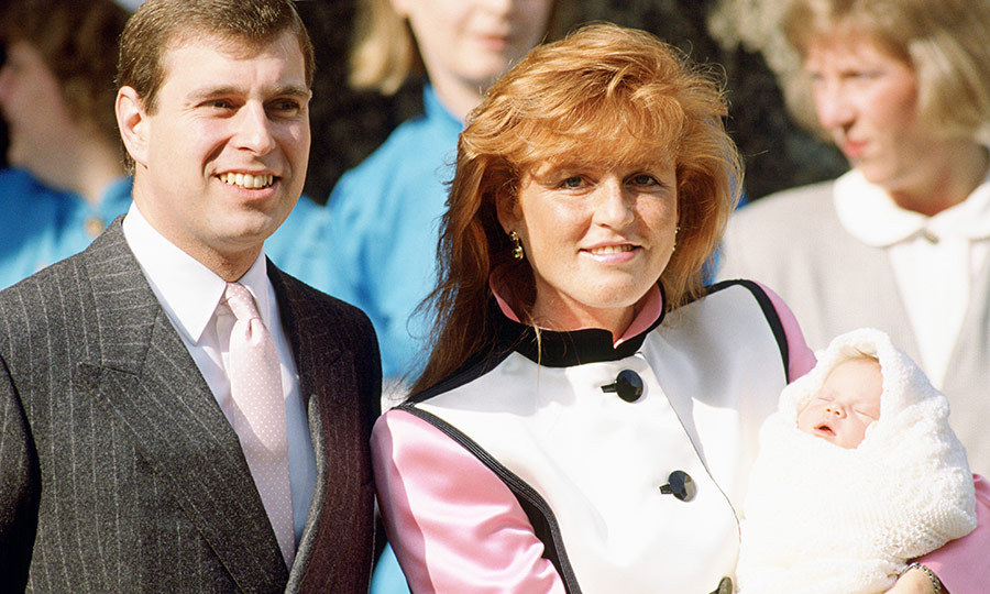 Here she is! This is one of the very first pictures ever taken of Eugenie, with proud parents Prince Andrew and Sarah Ferguson beaming outside the Portland Hospital in London just after she was born. We really love their matching pink here! 