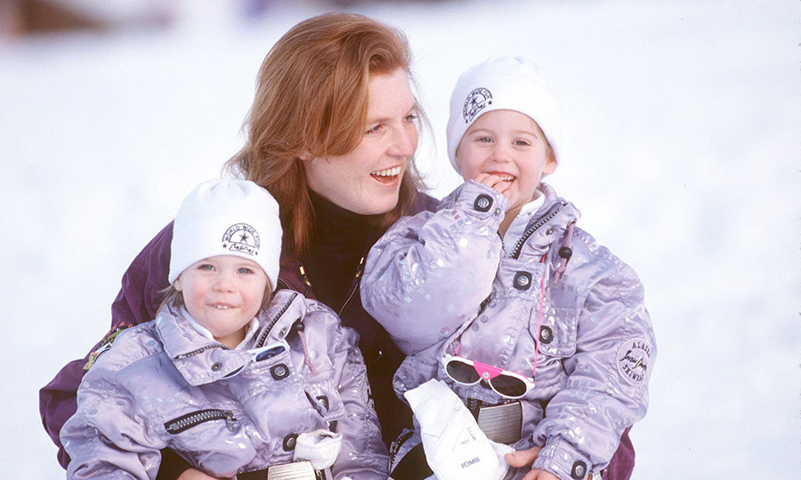 Twinning! Eugenie (left) and Beatrice sure looked like they were having fun with their mom on another skiing holiday with their mom in December 1992.
