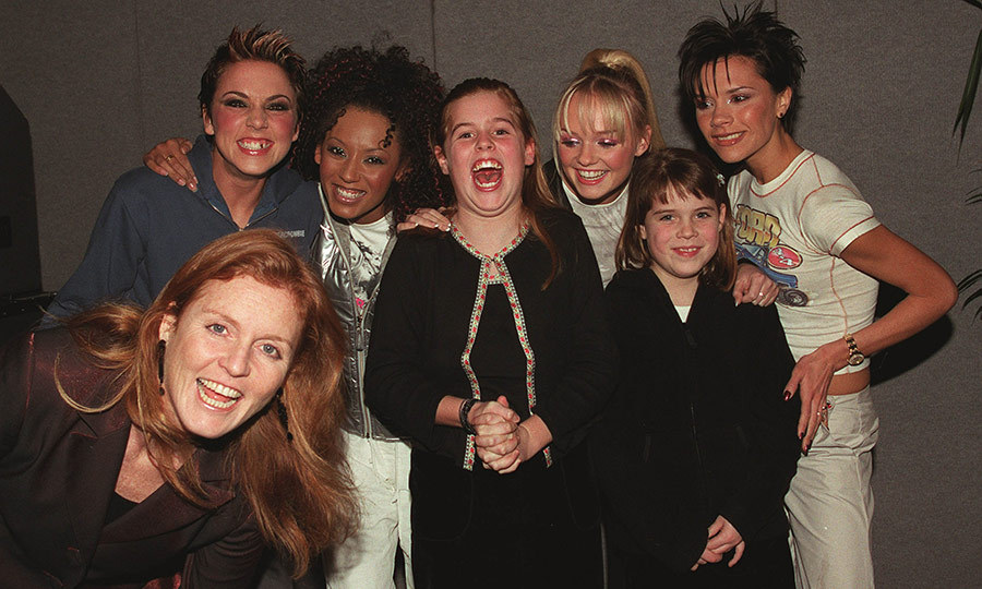 "Pop music royalty meets... royalty! Eugenie (second from right) with Beatrice (centre) met four out of five of the <a href=""https://ca.hellomagazine.com/tags/0/spice-girls""><strong>Spice Girls</strong></a> at London's Earl's Court in 1999, with mom Sarah standing in for doppelganger Ginger Spice! This was every girl's dream in the '90s, and we're so jealous!