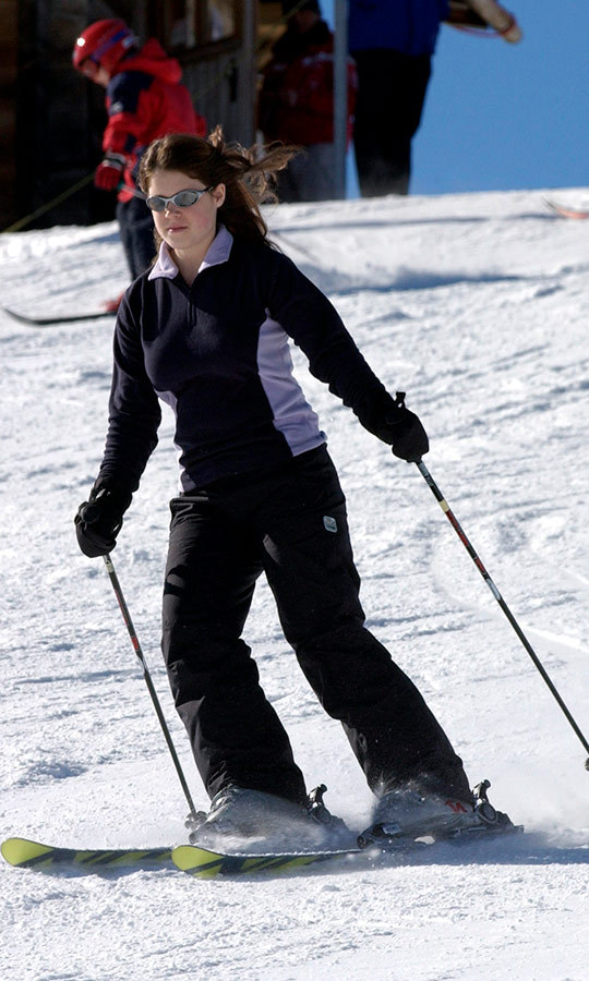 Back on the hill! Eugenie returned to Switzerland for another skiing vacation, this time nearly age 14, in 2004.