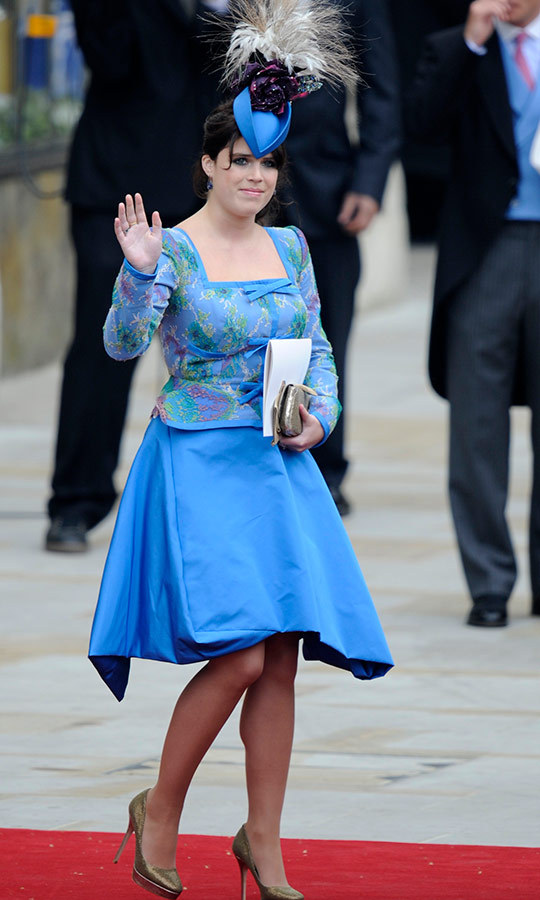 "Eugenie looked beautiful in blue at the wedding of her cousin Prince William and <a href=""https://ca.hellomagazine.com/tags/0/duchess-kate""><strong>Duchess Kate</a></strong> in April 2011.