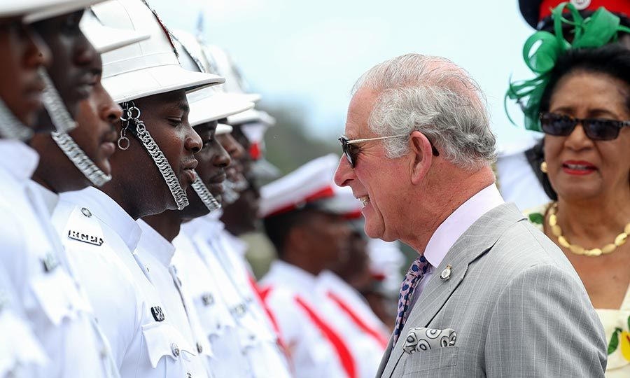 The Duke of Cornwall inspected another honour guard and then gave a speech. He and the duchess were met by the country's prime minister, Keith Mitchell, and governor-general, Cécile La Grenade.
