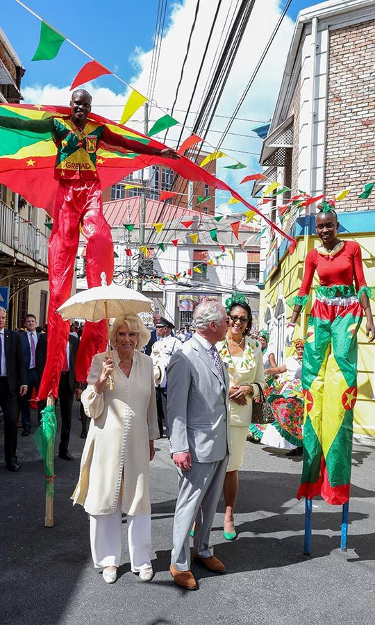 The couple later got quite the show from stilt walkers in the streets of Saint George's!