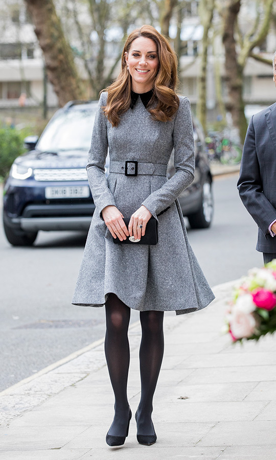 Kate later removed her fascinator to visit the Foundling Museum, and looked relaxed and very happy, with her wavy locks down. 