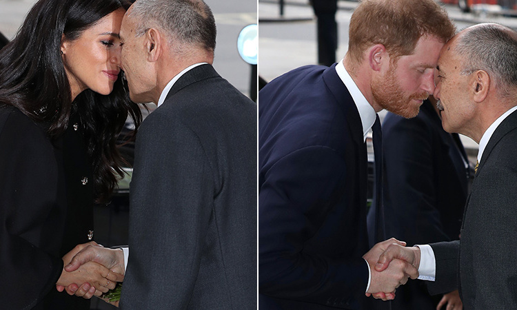 The Duke and Duchess of Sussex were met by Jerry Mateparae, the New Zealand High Commissioner to the UK, when they arrived, and performed the Hongi, the Māori greeting. 